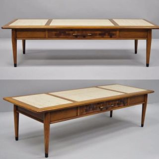 Mid Century Modern Walnut and Marble Coffee Table by Lane
