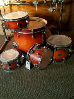 PDP maple drums with double bass pedal, dw hi hat stand, and hardware.
