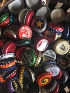 lots of beer bottle caps