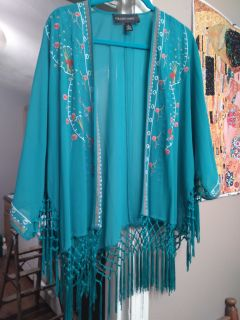 Gorgeous teal embroidered kimono topper. Size XL beautiful fringe details. Colleen Lopez brand. Like new,!