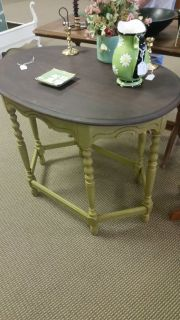 Antique green parlor table