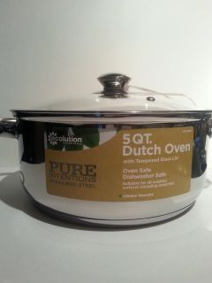 Stainless Steel Dutch Oven, 5 Quart Pot, with Glass Lid, NEW