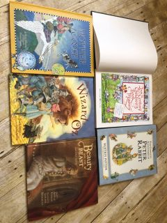 5 hard cover kids books most are collections open book is missing jacket $6