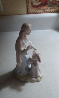 Beautiful porcelain statue Jesus and child 8 in tall