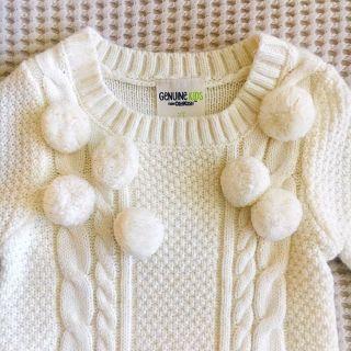 POM POM CABLE SWEATER DRESS - OFF WHITE