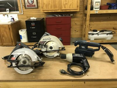 Saws, drill and sander
