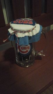 Chicago Cubs Beer Mug w/Mike's  Hard Lemonade & Corona Extra Bottle Caps