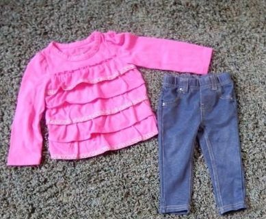 12 month jeggings and ruffly knit shirt