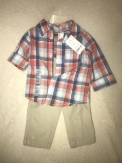 NWT Carter s 6month button up top and khaki pants