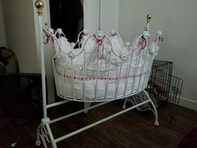 Scalloped Iron Cradle Baby Crib Bedding Included