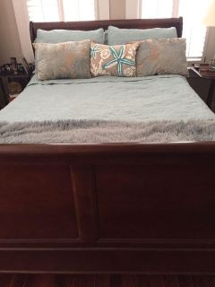 Queen size sleigh bed-$175 few puppy scratches that are barely visible-Queen size mattress-great shape and I think about 6 yrs old-$125