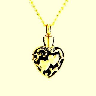 DOUBLE GOLD HEARTS/URN FOR A LOVED ONE