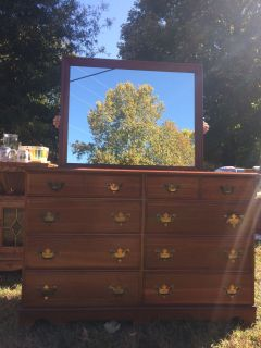 Tiger Oak Buffet & Cherry Dresser with MIrror