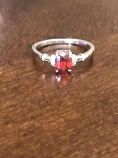 Cute sterling silver ruby ring size 10