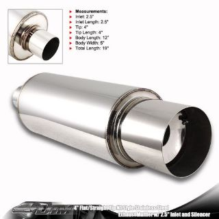 "Sell Universal 4"" N1 Style Flat Tip Stainless Steel Muffler With 2.5"" Inlet +Silencer motorcycle in Rowland Heights, California, United States"