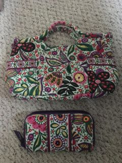 Vera Bradley hand bag with matching wallet