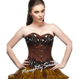 Brown Satin with Beats Sequined Overbust Corset NS-1299