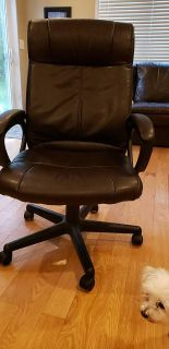 Brown desk chair leather style