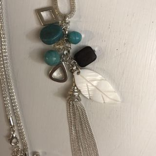 Brand new long necklace with real beads and feather
