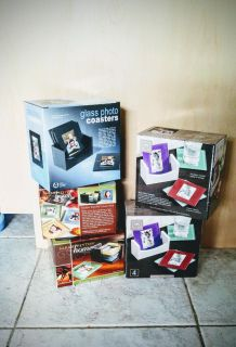New in Boxes - Glass photo coasters with Caddy