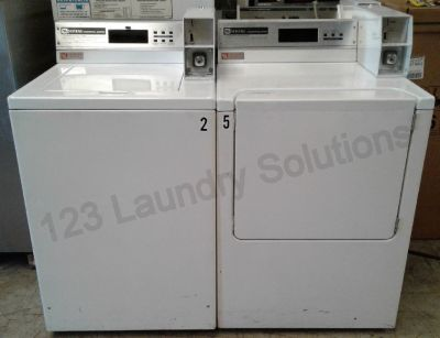 Maytag Commercial Coin Op Washer and Dryer Set White Used