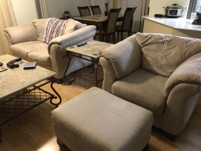 Couch and love seat with ottoman