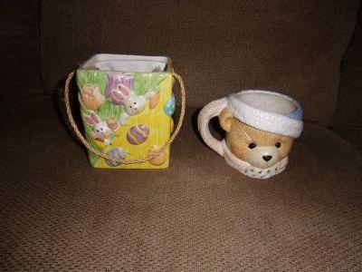 Porcelain BEAR CUP / MUG & EASTER BAG Eggs / Bunny Cute Teddy Bear