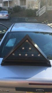 New never used wooden triangle flag display holder