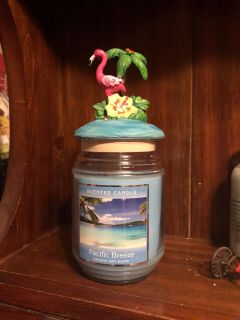 New candle with flamingo topper