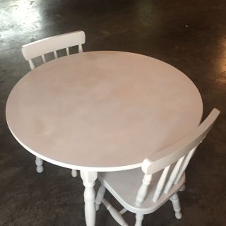 Kids table with two chairs. My daughter used it for tea parties, games and a desk. Great shape! Meet at Lowe's Hendersonville. $40