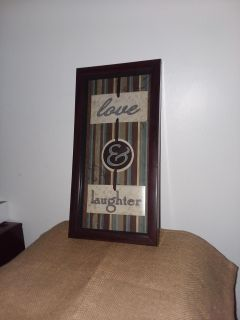 Wood hanging shape box picture love & laughter like new excellent condition