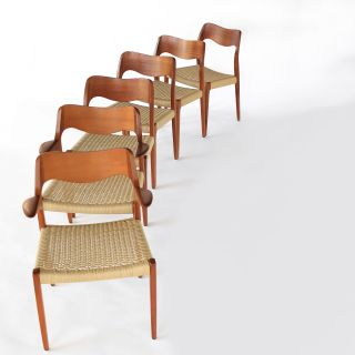 Vintage Niels Moller Dining Chairs Model 55 and 71