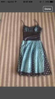 SZ 9/10 Group USA Dress Turquoise with sheer sparkly black overlay worn 1x Excellent