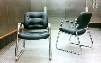 Vintage 20C Modernist Chrome & Tufted ArmChairs