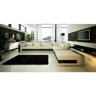 $2,299, Modern White Leather Sectional Sofa with Drawers
