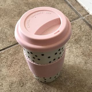 Ceramic Coffee Cup w Lid, pink band for hands