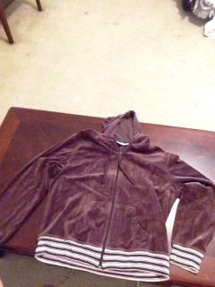 Cato brown velour hooded jacket with pink& brown stripe trim