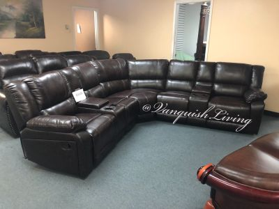 Brand New Espresso Reclining Sofa Sectional 2 Chairs Cup Holders Storage - Very Nice!!!