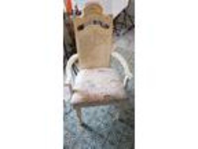 Solid wood shabby chic table with six chairs
