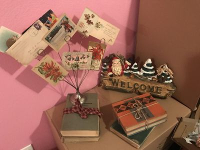 Old books, Christmas Wall hanger, Christmas collage of old postcards and letters...All for $20