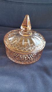 """Pretty pink covered candy dish. Excellent condition. @ 6"""" diameter x 6.5"""" tall."""