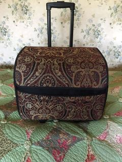 Fabric Sewing Machine Tote on wheels