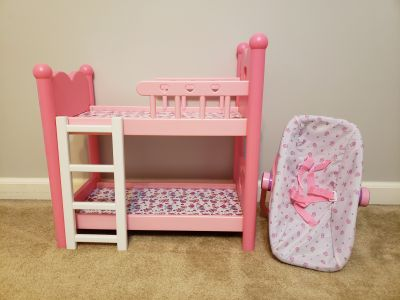 Doll bunk beds and doll carseat