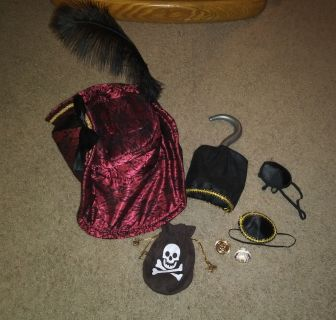 Pirate Costume Hat, Hook, Eye Patch & Pouch