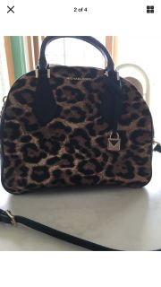 Michael Kors Briar Large Genuine Calf Hair Bowling Bag Handbag Leopard