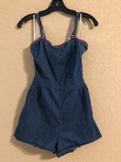Blue Jean Romper With Adorable Back. Size Small