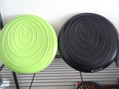 Two Gaiam Balance Disk Wobble Cushion Black and Green