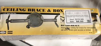 NEW! RACO 1-Gang Silver Steel Interior Ceiling Fan Ceiling Electrical Box