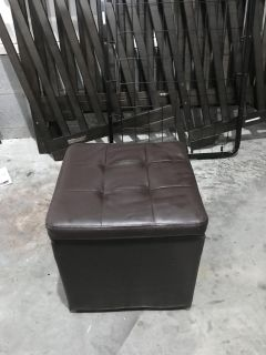 Faux brown leather ottoman