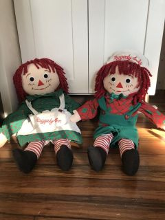 Raggedy Ann & Raggedy Andy dolls Excellent Condition